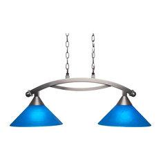 "Toltec Bow 2-Light Island Light, Brushed Nickel, 12"" Blue Italian Glass"