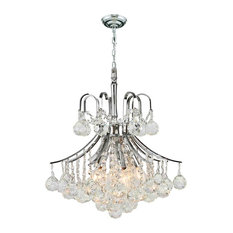 Empire 6 Bulbs 1 Tier Chandelier With Clear Crystal In Polished Chrome