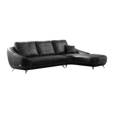 Modern Black Leather Lucy Sectional Right Chaise