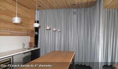 Fabric Room Dividers for Lofts-Bendable Curtain Rod - Curtain Rods - Bendable Curtain Rod For Bay Windows, Showers, RV's, Room Dividers