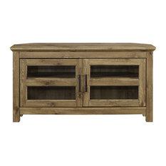 Farmhouse Corner TV Stand 2 Doors Cabinet With Glass Insert  Barnwood