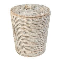 La Jolla Rattan Round Waste Basket with Plastic Insert & Lid, White Wash