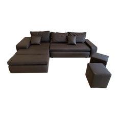 RITMO Sectional Sofa-Bed, Brown, Left Corner
