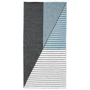 Stripe Woven Vinyl Floor Cloth, Blue, 150x210 cm