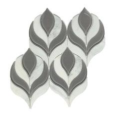 "9.75""x10.25"" Botanica Arabescato P. Gray Glass Clear Water Jet Mosaic, Sample"