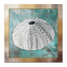 Beach Decor 'Silver Lining Sea Urchin', Coastal Bathroom Art on Acrylic