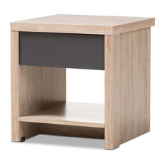 Hawthorne Collection 1 Drawer Wood Nightstand In Light Brown And Gray