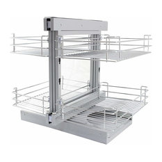 Corner Kitchen Pull Out Baskets, Stainless Steel, 4 Storage Drawers, Right