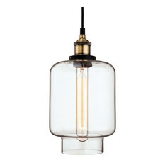 Empire Antique Brass and Slim Glass Pendant