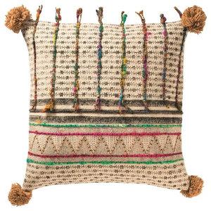 Global Fusion Cushion, Stripe, Pom Pom, Filled