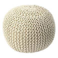 Pincushion Woven Pouf - Beige
