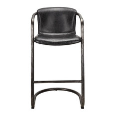 21-inch W Set Of 2 Bar Stool Antique Black Top Grain Leather Industrial Iron Frame