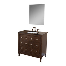 "36"" Single Sink Vanity, Solid Wood, Sable Walnut Finish, Black Granite Top"