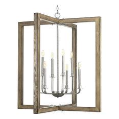 Turnbury Collection Eight-Light Chandelier, Galvanized Finish