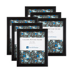 "Picture Frame Set, 8""x10"" With Stand and Hooks, Black, Set of 6"