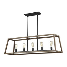 Gannet 5 Light Chandelier in Weathered Oak Wood And Antique Forged Iron