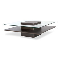 Louie Brown Wooden Coffee Table with Glass Top