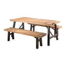 3-Piece Valverde Outdoor Wood Picnic Dining Set