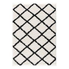 L'Baiet Halle Moroccan Trellis White Modern Soft Shag 8' x 10' Fabric Area Rug
