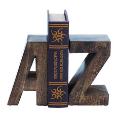 Fun Uppercase A to Z, Bookends Brown Set of 2 Home Library Decor