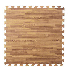 Clevr 100 Sqft Eva Light Wood Grain Foam Mat Interlocking Flooring 25Pcs Oak