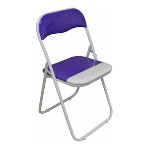 Foldable Chair, Tubular Steel Frame With Padded Seat, White Finish, Purple