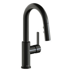 Elkay Avado 1.8 GPM Pullout Spray 1 Hole Bar Faucet Black Stainless, LKAV3032BK