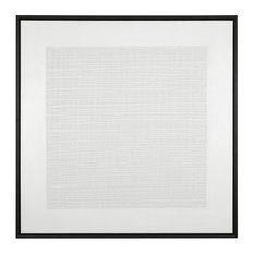 Large Gray White Woven Textured Abstract Painting, Dimensional Square Grid