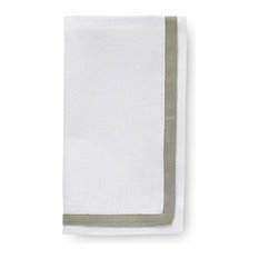"""Barlow Placemats and Napkins by Sferra, White, Moss, Napkins, Set of 4, 20x20"""""""