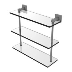 "Montero Collection 16"" Triple Tiered Glass Shelf, Matte Gray"