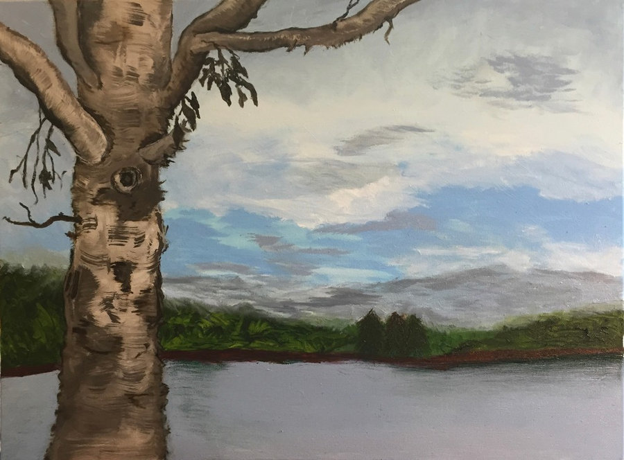 New Paintings - Landscapes in Oils-Lake View Loch Lyme Lodge, Lyme NH