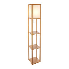 Brightech Maxwell - Modern LED Shelf Floor Lamp - Skinny End Table & Nightstand,
