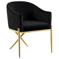 Xavier Velvet Dining Chair, Black, Gold Legs