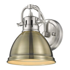 Duncan 1 Light Bath Vanity, Pewter With Aged Brass