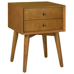 Crosley - Landon Night Stand, Acorn - Inspired by class midcentury designs, the Landon Nightstand is the perfect addition to your modern bedroom. Genuine metal hardware pops against the vintage finish of the wood and the pull-out drawer provides storage space while maintaining the Landon's sleek linear shape. Bold splayed legs complete the modern look. The Landon Nightstand is created to bring fresh vitality to traditional designs.