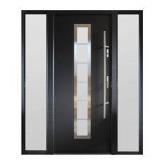 Ville Doors   Modern Entry Door With Sidelites, Gray Finish, Left Hand  Inswing