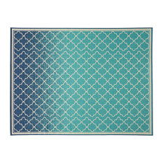 """Sweety Outdoor Ombre Area Rug, Blue and Ivory, 7'10""""x10'"""