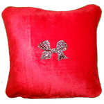 Evelyn Hope Collection - Red Velvet Square Beaded Holiday-Christmas Pillow With Removable Custom Jewels - Introducing our custom made luxurious boutique collection velvet pillow-pin sets from Evelyn Hope.