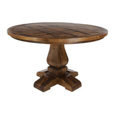 Large Brown Parquet Wood Round Dining Table With Pedestal Base