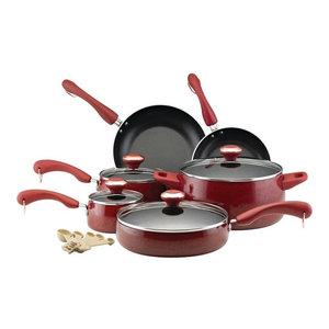 Paula Deen Signature Porcelain 15 Piece Nonstick Cookware Set Red 119 99