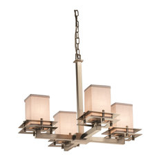 Textile Metropolis 4-Light Chandelier, Square With Flat Rim, White Fabric Shade