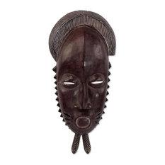 Tribal Baule African Wood Mask, Ghana