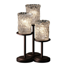 Veneto Luce Dakota Table Lamp, Cylinder With Rippled Rim, Clear Textured Glass
