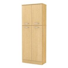 Modern Elegant Kitchen Pantry Small Upper Doors Large Lower Doors, Natural Maple