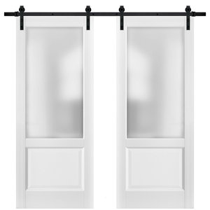 Double Barn Doors Lucia 22 Matte White & Glass Sample of Color