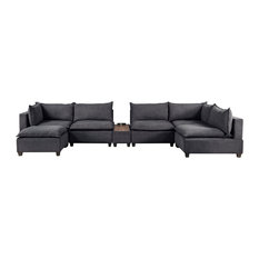 Madison Down Feather Modular Sectional Sofa With USB Storage Console Table Dark