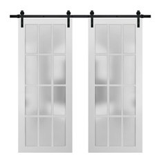 Double Barn Door 72 x 84 & Glass | Felicia 3312 Matte White | 13FT Rail