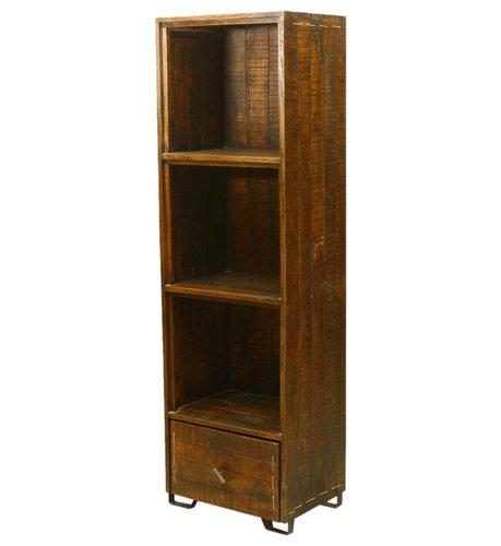 Modern Scholar Reclaimed Wood 3-Shelf Display Bookcase w Drawer ...