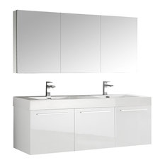 "Fresca Vista 60"" White Wall Hung Double Sink Bathroom Vanity, Medicine Cabinet"