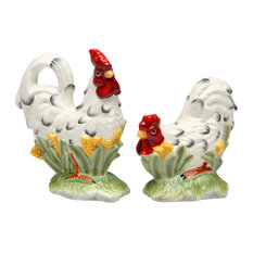 Black and White Rooster Salt and Pepper Shakers, Set of 2